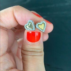 Brighton Silver & Gold Heart Earrings
